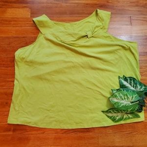 Pale green tank top with decorative neck size 3X